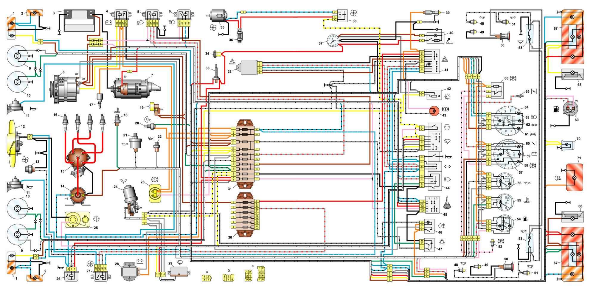 Общая схема электрооборудования ВАЗ 2106 / 21061 / 21063 / 21065 выпуска 1976 – 1987г.