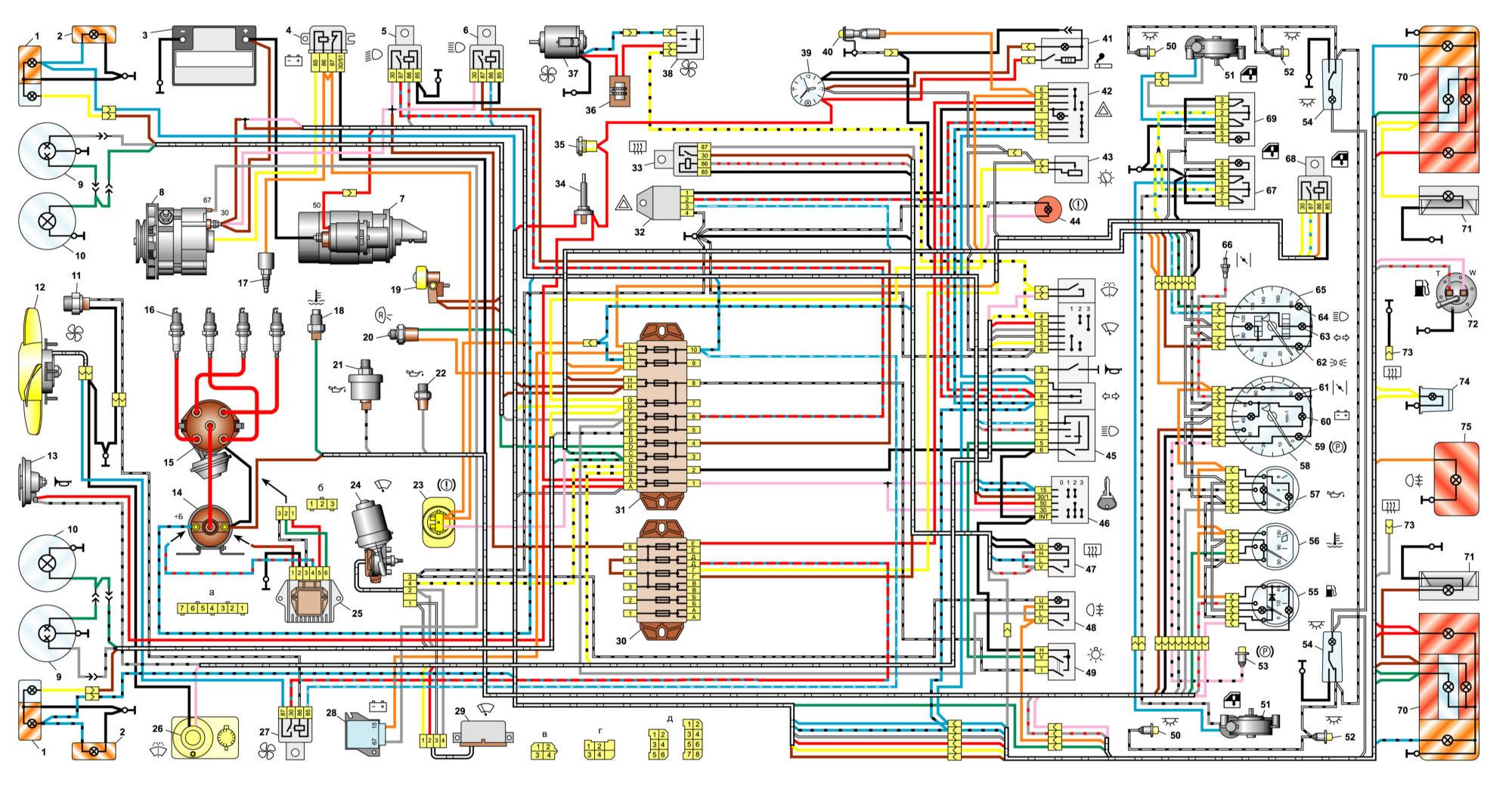 Общая схема электрооборудования ВАЗ 2106 / 21061 / 21063 / 21065 выпуска 1988 – 2001г.