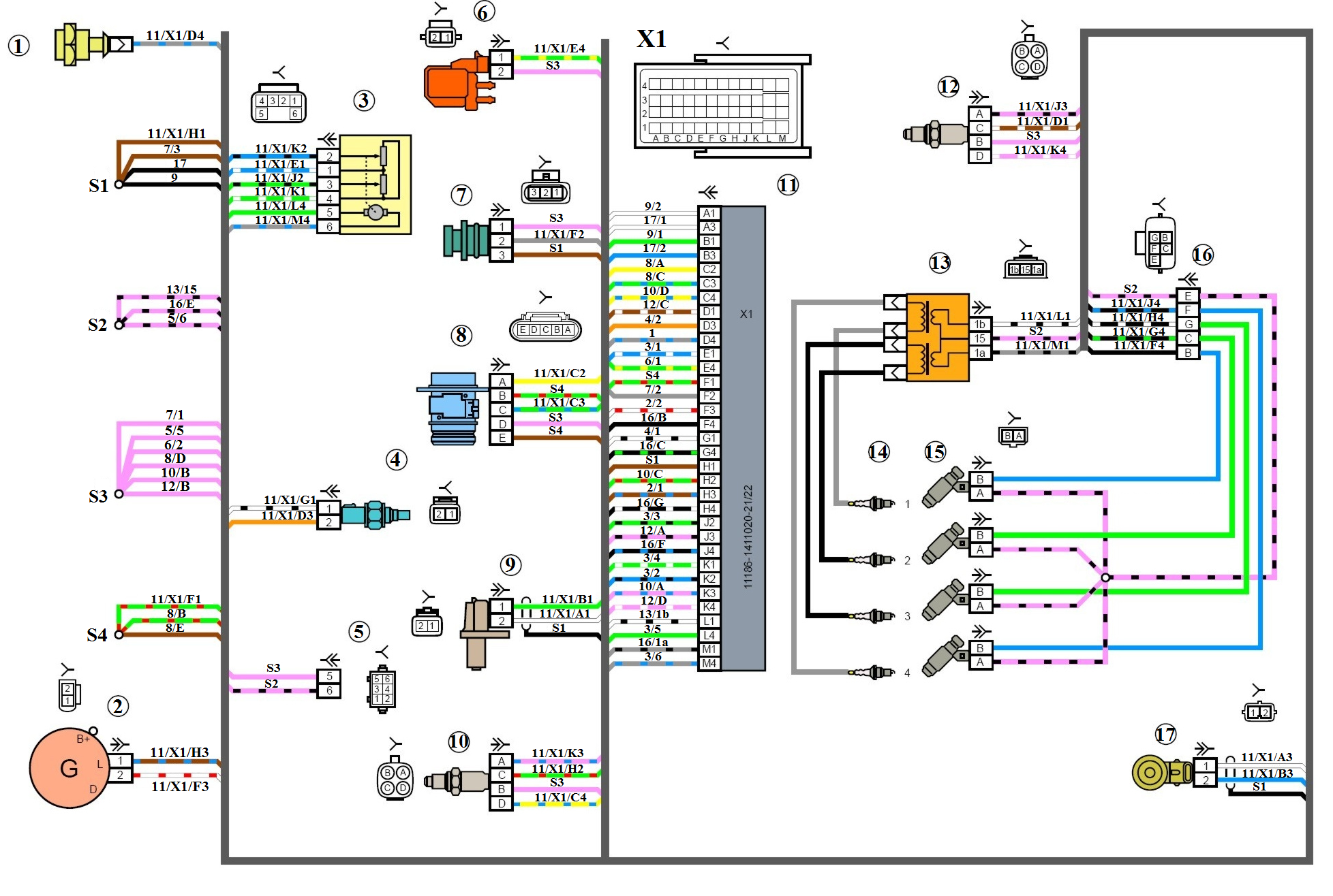 Схема подключения датчика температуры приора