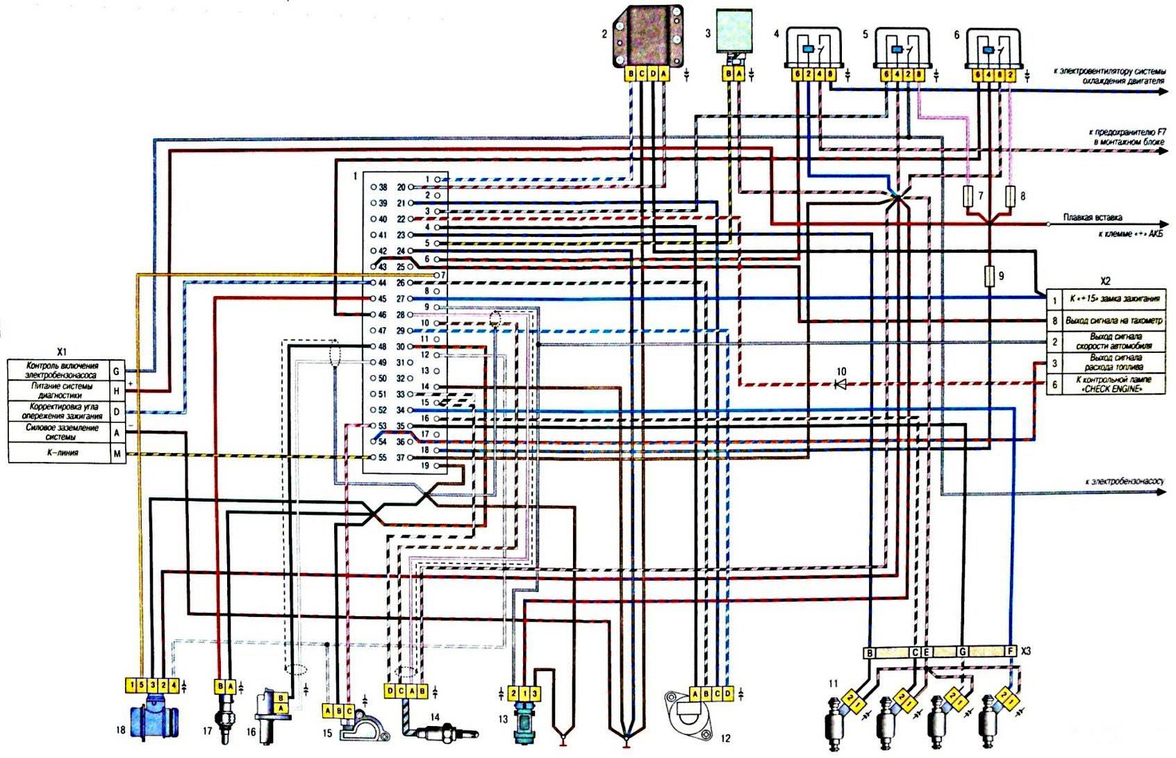 Схема инжектор 2107 январь 7.2