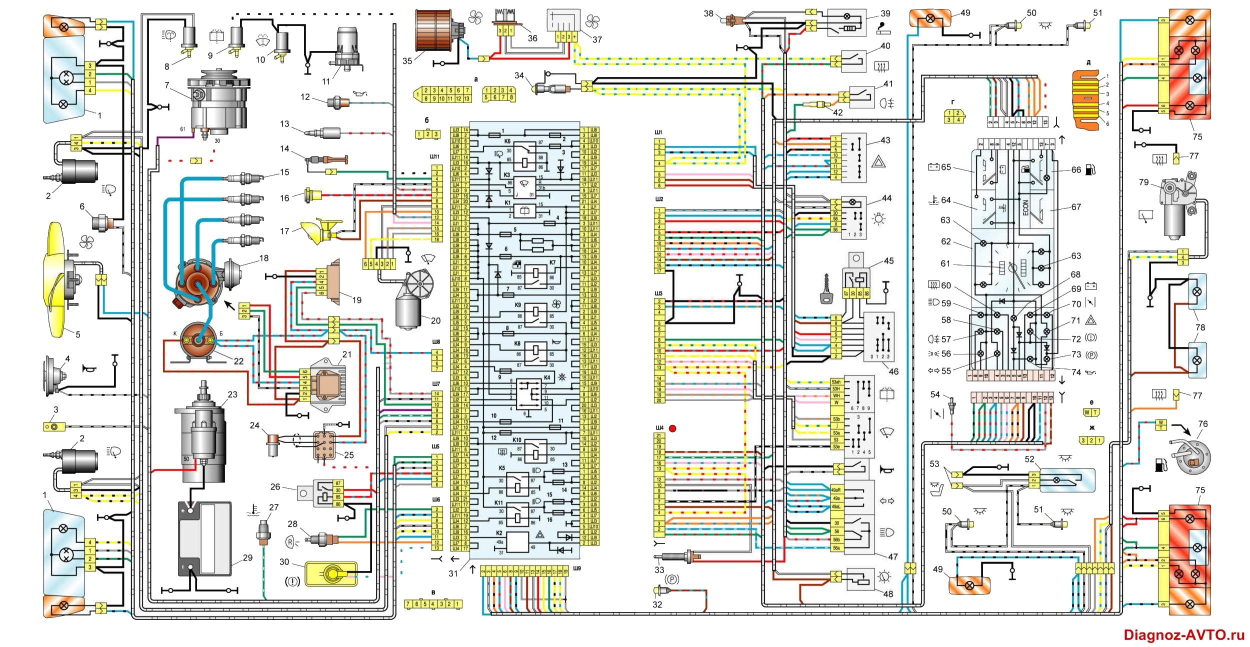 Ваз 2109 схема панели 421