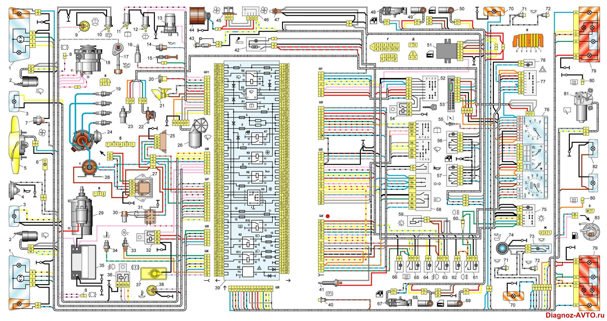 схема электропроводки ваз 2109