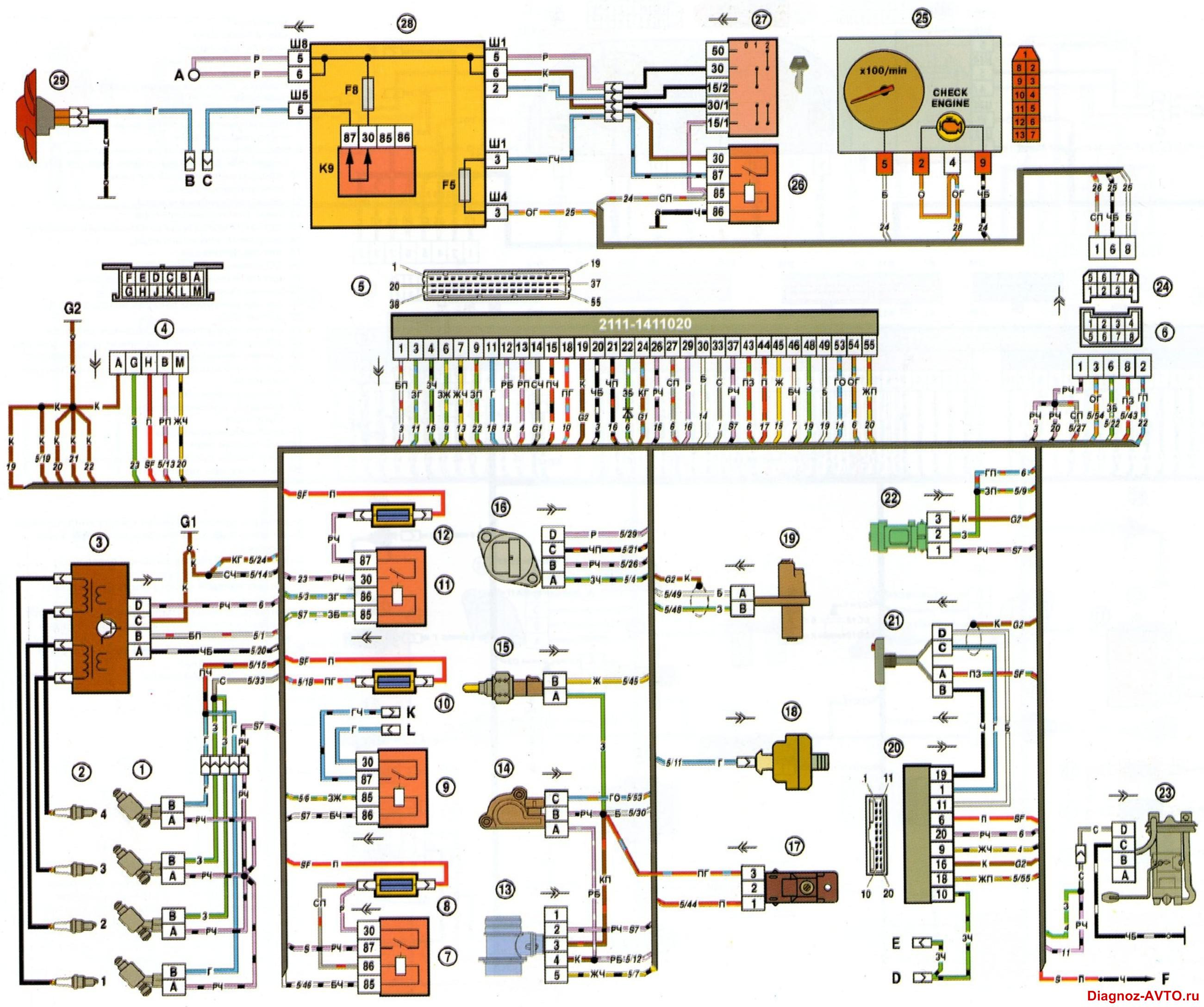 Ваз 21099i схема электрическая 635