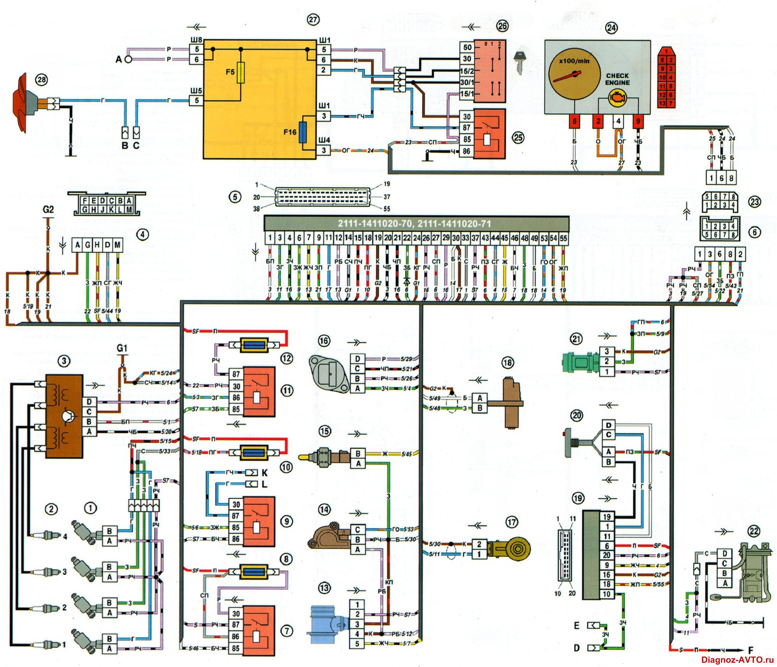 электрическая схема ваз 2108